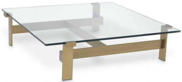 Casa Padrino Luxus Couchtisch Messingfarben 120 x 120 x H. 30 cm - Quadratischer Edelstahl Wohnzimmertisch mit Glasplatte - Wohnzimmer Möbel - Luxus Qualität