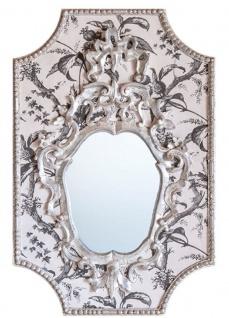 Casa Padrino Barock Spiegel Grau / Weiß / Antik Weiß 65 x H. 99 cm - Barock Wandspiegel mit Pflanzen Design