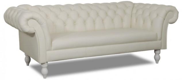 Casa Padrino Luxus Echtleder 3er Sofa Weiß 210 x 90 x H. 80 cm - Wohnzimmermöbel im Chesterfield Design - Vorschau 2