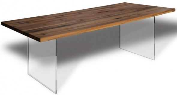 Casa Padrino Luxus Esstisch - Verschiedene Farben & Größen - Küchentisch mit rustikaler Massivholz Tischplatte und Glasbeinen - Esszimmer Tisch