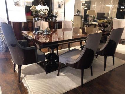 Casa Padrino Luxus Art Deco Esszimmer Stuhl Set Dunkelgrau / Dunkelbraun Hochglanz - Küchen Stühle 6er Set - Edle Art Deco Esszimmer Möbel