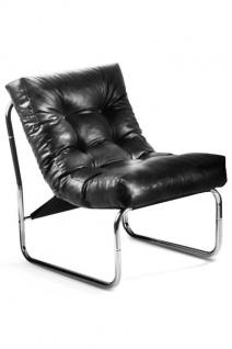 Designer Salon Stuhl Schwarz Lederoptik, sehr komfortabler Sitz, moderner Wohnzimmerstuhl - Vorschau 1