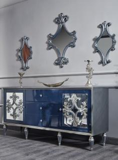Casa Padrino Luxus Barock Wohnzimmer Set Blau / Silber - Kommode und 3 Spiegel - Barock Wohnzimmermöbel - Vorschau