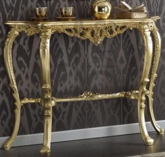 Casa Padrino Luxus Barock Konsole Gold 114 x 31 x H. 83 cm - Prunkvoller Antik Stil Konsolentisch mit wunderschönen Verzierungen - Barock Wohnzimmer Möbel