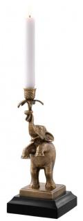 Casa Padrino Luxus Kerzenhalter Elefant Vintage Messing / Schwarz 17 x 14 x H. 32 cm - Luxus Qualität