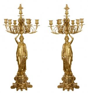 Casa Padrino Barock Kerzenständer Set Gold 37, 5 x 32, 5 x H. 86 cm - Edel & Prunkvoll