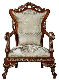 Casa Padrino Luxus Barock Sessel Gold / Braun / Bronze 82 x 72 x H. 123 cm - Wohnzimmer Sessel mit elegantem Muster und dekorativem Kissen - Edle Barock Möbel