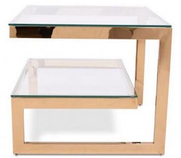 Casa Padrino Luxus Beistelltisch mit Glasplatten Gold 60 x 60 x H. 60 cm - Designer Wohnzimmermöbel