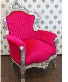 Casa Padrino Barock Sessel King Pink / Silber - Luxus Antik Stil Möbel