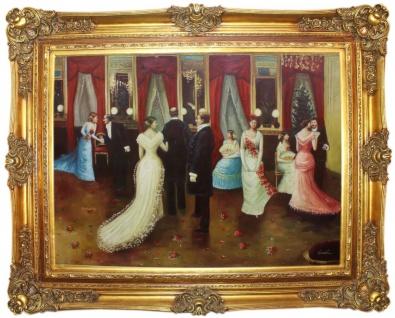 Casa Padrino Barock Ölgemälde Hochzeitsfeier Mehrfarbig / Gold 160 x 10 x H. 130 cm - Handgemaltes Gemälde mit prunkvollem Rahmen im Barockstil - Wanddeko im Barockstil