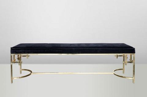 Casa Padrino Art Deco Luxus Sitzbank Edelstahl Gold - Vintage Jugendstil Möbel