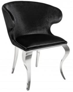 Casa Padrino Designer Esszimmer Set Schwarz / Silber / Weiss - Esstisch 200 cm + 6 Stühle - Modern Barock - Vorschau 4