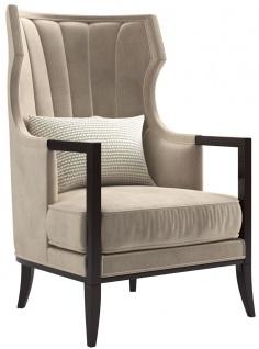Casa Padrino Luxus Art Deco Samt Sessel Beige / Dunkelbraun 70 x 75 x H. 100 cm - Edler Wohnzimmer Sessel - Luxus Qualität - Art Deco Möbel