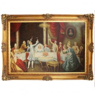 Riesiges Handgemaltes Barock Öl Gemälde Hochzeit Gold Prunk Rahmen 225 x 165 x 10 cm - Massives Material