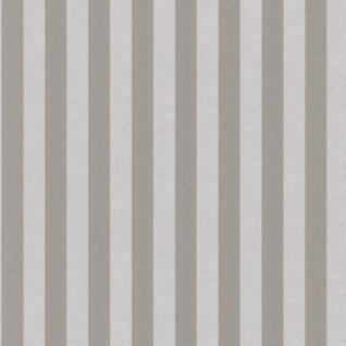 Casa Padrino Barock Textiltapete Grau / Silber 10, 05 x 0, 53 m - Barock Tapete mit Streifen