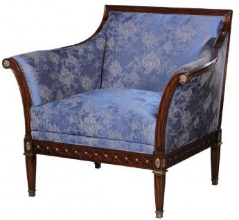 Casa Padrino Luxus Jugendstil Sessel Blau / Braun / Antik Messingfarben 112 x 89 x H. 100 cm - Edler Mahagoni Wohnzimmer Sessel mit elegantem Damastmuster - Barock & Jugendstil Wohnzimmer Möbel