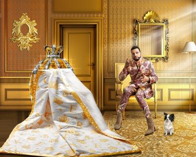 Harald Glööckler Designer Wohndecke 150 x 200 cm Krone Weiß / Gold + Casa Padrino Luxus Barock Bleistift mit Kronendesign - Vorschau 2