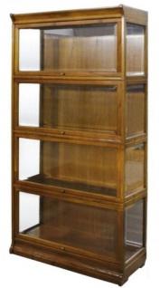Casa Padrino Luxus Bücherschrank mit 4 Glastüren und LED Beleuchtung Hellbraun 90 x 39 x H. 182 cm - Büroschrank