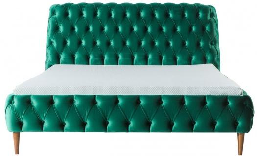 Casa Padrino Luxus Chesterfield Doppelbett Grün / Braun - Verschiedene Größen - Modernes Bett mit Matratze - Schlafzimmer Möbel