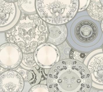 Versace Designer Barock Vliestapete 349013 Les Etoiles de la Mer 2 Grau / Silber / Weiß - Design Tapete - Hochwertige Qualität
