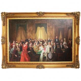 Riesiges Handgemaltes Barock Öl Gemälde Casino Gold Prunk Rahmen 225 x 165 x 10 cm - Massives Material