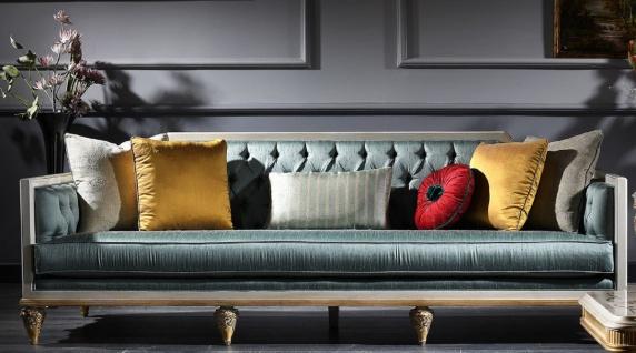 Casa Padrino Luxus Barock Sofa Türkis / Weiß / Gold 256 x 89 x H. 90 cm - Prunkvolles Chesterfield Wohnzimmer Sofa im Barockstil