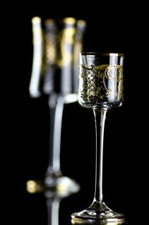 Casa Padrino Luxus Barock Likörglas 6er Set Gold Ø 6 x H. 17, 5 cm - Handgefertigte und handbemalte Likörgläser - Hotel & Restaurant Accessoires - Luxus Qualität
