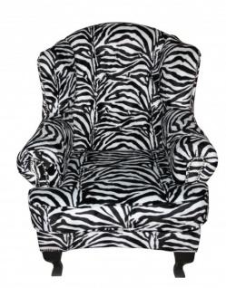 Casa Padrino Limited Edition Designer Chesterfield Ohren Sessel Zebra - Club Möbel