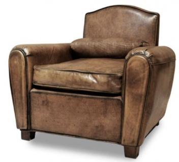 Casa Padrino Luxus Wohnzimmer Leder Sessel Vintage Braun 89 x 81 x H. 83 cm - Echtleder Möbel