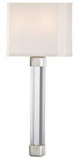 Casa Padrino Luxus Wandleuchte Silber / Weiß 22, 9 x 10, 2 x H. 54, 6 cm - Moderne Wandlampe mit Kristallglas und Seiden Lampenschirm