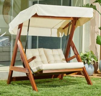 Casa Padrino Luxus Hollywood Schaukel Cremefarben / Braun - Moderne Wetterfeste Garten Schaukel mit Sonnendach - Terrassen Möbel - Garten Möbel