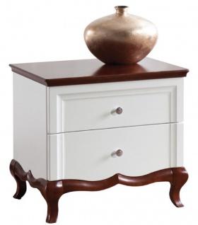 Casa Padrino Luxus Art Deco Nachttisch mit 2 Schubladen Weiß / Dunkelbraun 64 x 46, 5 x H. 59 cm - Schlafzimmermöbel