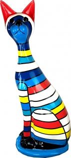 Casa Padrino Dekofigur Katze Mehrfarbig Gestreift H. 98 cm - Wetterbeständige Deko Skulptur - Wohnzimmer Deko - Garten Deko - Deko Tierfigur