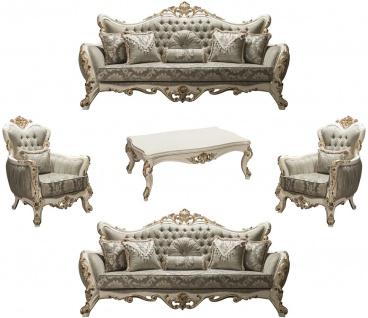 Casa Padrino Luxus Barock Wohnzimmer Set Grau / Weiß / Gold - 2 Sofas & 2 Sessel & 1 Couchtisch - Barockstil Möbel - Edel & Prunkvoll