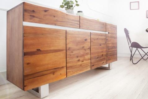 Casa Padrino Luxus Sideboard Braun B.170 x H.90 x T.45 - Fernsehschrank - Kommode - Handgefertigt aus massivem Akazienholz! - Vorschau 3