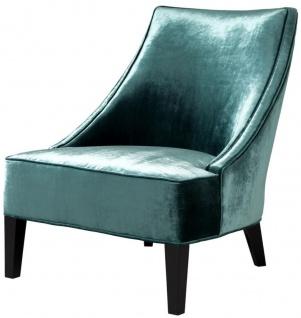 Casa Padrino Luxus Sessel Ägäisches Grün / Schwarz 70 x 88 x H. 85 cm - Hotel Möbel