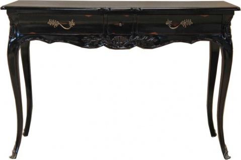 Casa Padrino Barock Konsolentisch Antik Stil Schwarz mit 3 Schubladen 120 cm - Konsole Schrank Kommode