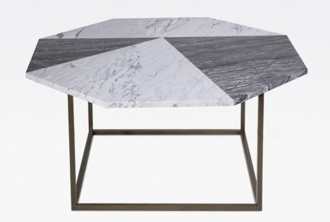 Casa Padrino Luxus Couchtisch Schwarz / Weiß 90 x 90 x H. 42 cm - Moderner 8-eckiger Wohnzimmertisch mit Carrara Marmorplatte - Wohnzimmer Möbel