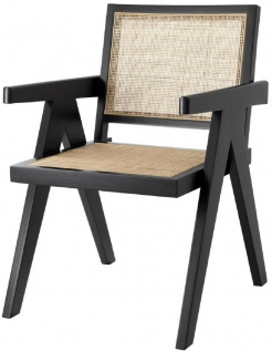 Casa Padrino Luxus Esszimmerstuhl Schwarz / Naturfarben 57 x 65, 5 x H. 90 cm - Massivholz Stuhl mit Armlehnen und handgewebtem Rattangeflecht - Luxus Esszimmer Möbel