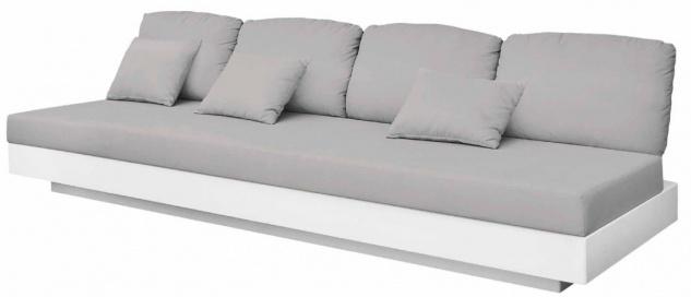 Casa Padrino Luxus 4er Gartensofa Grau / Matt Weiß 280 x 90 x H. 70 cm - Wetterbeständiges Garten Terrassen Sofa - Hotel Möbel - Luxus Qualität