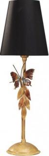 Casa Padrino Luxus Tischleuchte Schwarz / Gold mit Schmetterling - vergoldete Tisch Lampe - Handgefertigt in Italien
