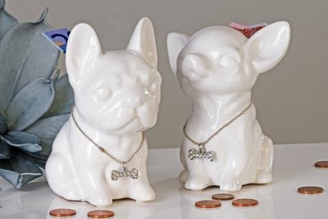 """Designer Spardose """" Mini Dog"""" mit silberner Knochen-Halskette, 2fach sortiert Höhe 13 cm - edle Skulptur aus Keramik"""