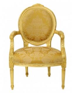 Casa Padrino Luxus Barock Medaillon Salon Stuhl Gold Muster / Gold Mod2 - Möbel Antik Stil