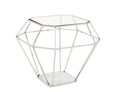 Casa Padrino Luxus Art Deco Designer Beistelltisch Nickel mit weißer Marmorplatte - Luxus Beistelltisch Hotel Möbel