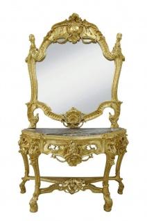 Casa Padrino Barock Spiegelkonsole mit Marmorplatte - Luxus Spiegelkonsole