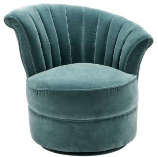 Casa Padrino Luxus Art Deco Drehsessel Right Dunkeltürkis 81 x 68 x H. 72 cm - Wohnzimmer Sessel - Art Deco Wohnzimmer Möbel