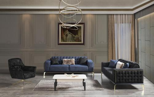 Casa Padrino Luxus Art Deco Chesterfield Wohnzimmer Set Schwarz / Blau / Weiß - 2 Sofas & 2 Drehsessel & 1 Couchtisch - Edle Wohnzimmer Möbel