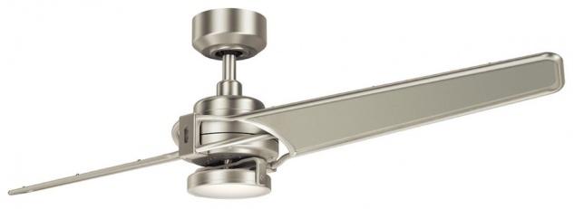 Casa Padrino Luxus Deckenventilator mit LED Beleuchtung und Fernbedienung Silber / Champagnerfarben 142 x H. 35 cm - Luxus Qualität