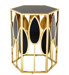Casa Padrino Luxus Art Deco Designer Beistelltisch Gold mit schwarzem Glas - Luxus Beistelltisch