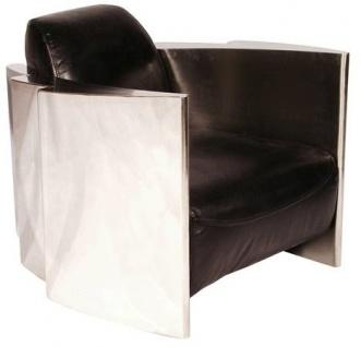 Casa Padrino Echtleder Club Sessel Vintage Schwarz / Silber 68 x 89 x H. 73 cm - Luxus Qualität